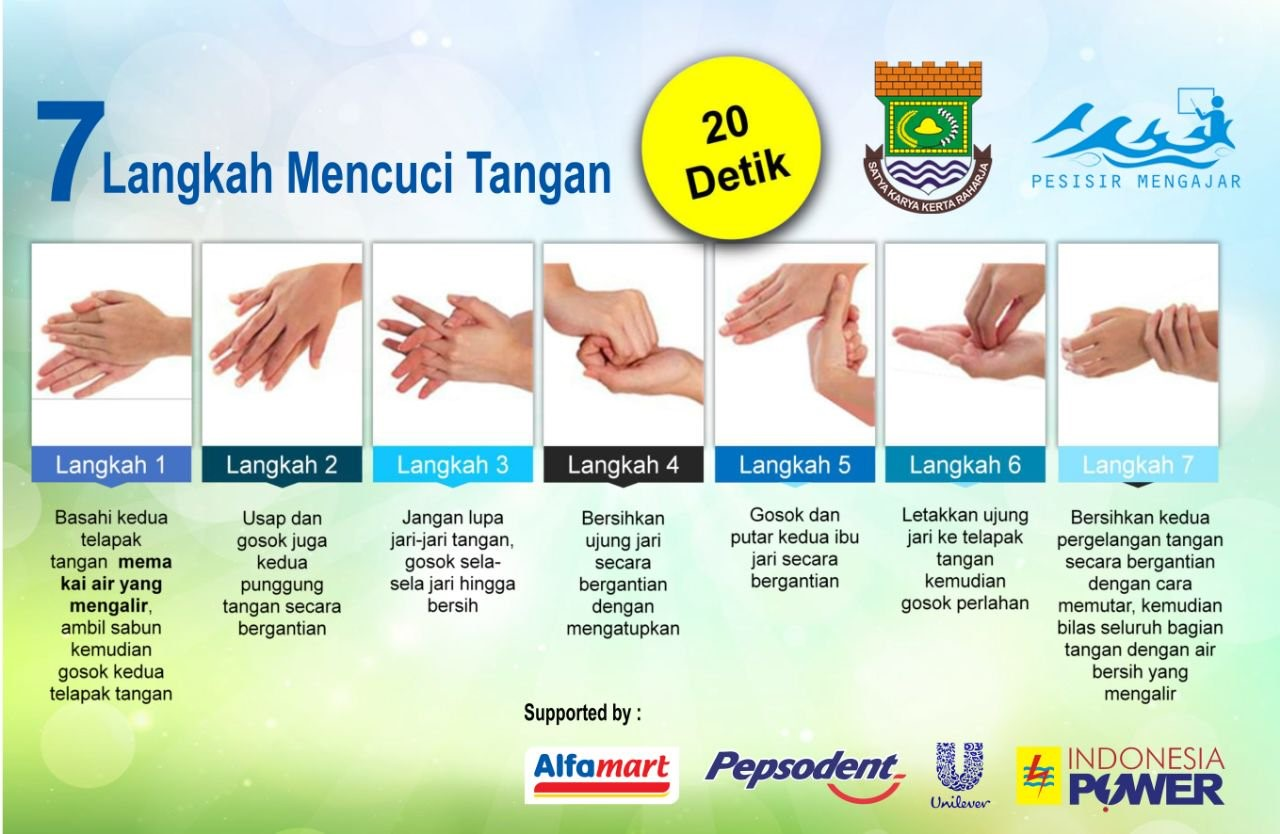 Poster with handwashing instructions designed for primary school children in Tangerang Regency