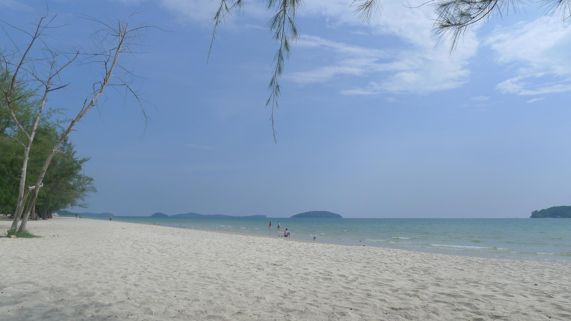 A beach in sunlight